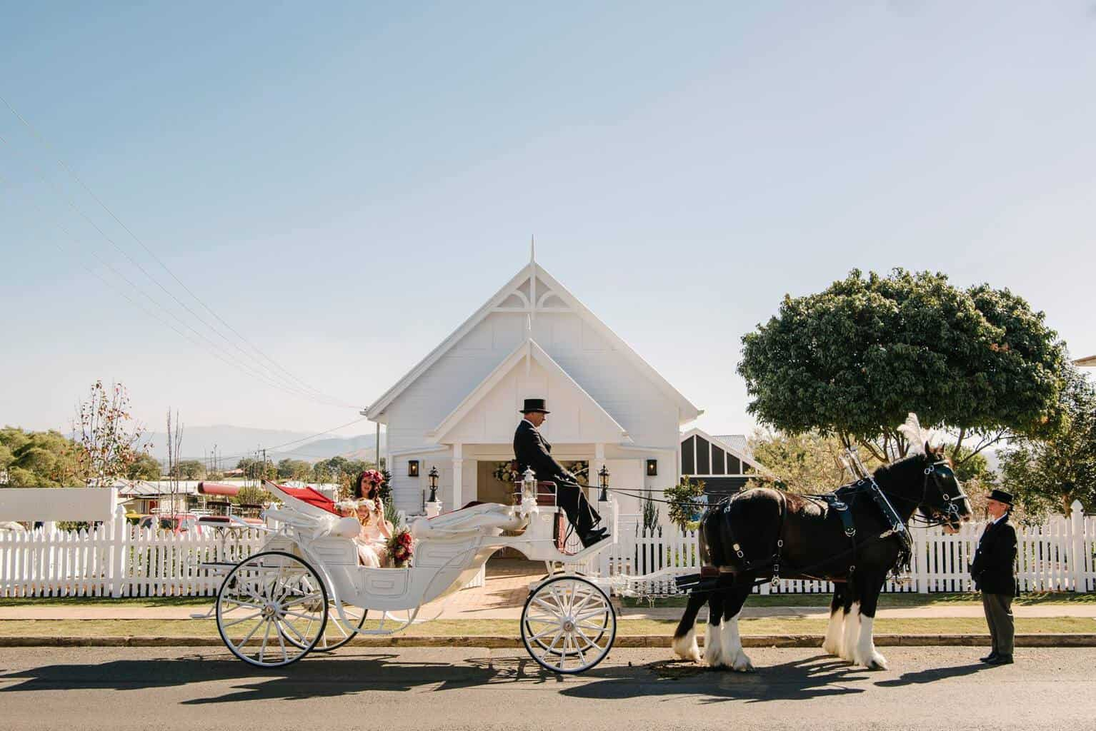 White Chapel Wedding - Vis A Vis Carriage and Drayhores Shires Australia