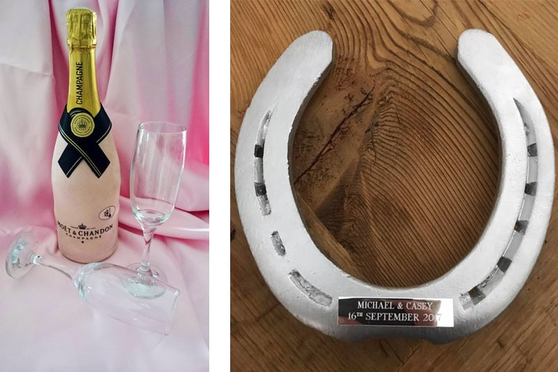 Champagne and Wedding Horseshoe - Drayhorse Shires