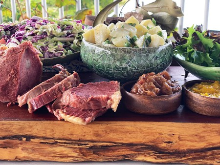 Drovers Lunch on Cobb & Co Wagon Tour including Damper w butter & Maple Syrup Corned Meat or Roast Beef w Pickles, Mustards & Relishes Potato Salad Slaw Green Salad